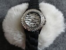 Ladies Geneva Quartz Watch with a Black Band and Unique Dial - Water Resistant