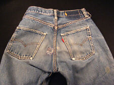 Vintage 501 early 70s Levis Jeans Selvedge Redline #6 button 24 x 27 measured