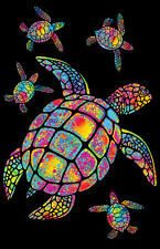TURTLES PAINTED - BLACKLIGHT POSTER - 24X36 FLOCKED 19892