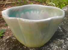 """VINTAGE (BEFORE 1963) SHEFFIELD POTTERY """"MASS."""" GREEN YELLOW VASE 5"""" HIGH SIGNED"""