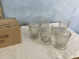 Beaded Votive Holder Clear Textured Glass Set - 18 Candle Romantic Wedding Event