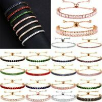 Fashion CZ Crystal Rhinestone Zircon Cuff Bracelet Bangle Bling Chain Women Gift