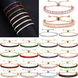 Fashion Women CZ Zircon Crystal Rhinestone Cuff Bracelet Bangle Chain Hot Gift