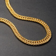 "Mens Heavy 24ct Yellow Gold Filled Flat Curb Chain Necklaces Jewellery 24""x9mm"