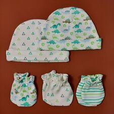 Set Baby Handschuhe Mütze Gr 50/56/62, 0-3 Monate, Erstausstattung, weiß, grün