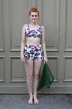 Damen Kombination Hose Top weiß lila Strand white 50er True VINTAGE 50s Sommer