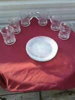 12 Pc LOT Arcoroc USA Canterbury Clear Glass Salad Plates & Cups Crocus Flower
