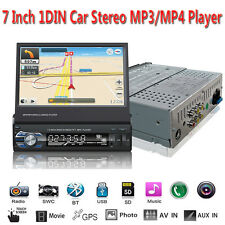 "7"" Single 1DIN Touch Car Stereo FM GPS Bluetooth MP4 MP5 Player USB SD Aux In"