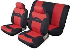 FUJI UNIVERSALE SET COMPLETO Proteggi Sedile Copre rosso & nero liscio imbottito in tessuto