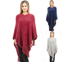 ScarvesMe Women's Cozy Warm Soft Solid Color Poncho Shawl with Fringe
