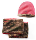 Realtree Women's Hat and Scarf Set Camouflage Pink Hot Shot