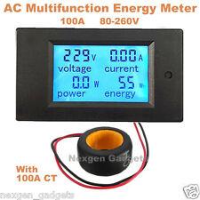 100A Digital AC 80-260V LCD Wattmeter Power Energy Meter Ammeter Voltmeter