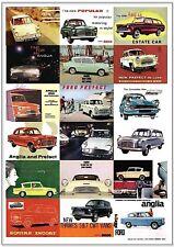FORD ANGLIA POPULAR PREFECT - Retro Art Print - 100E 105E DeLuxe Estate Adverts