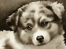Australian Shepherd Puppy Art Print Sepia Watercolor Painting by Artist Djr