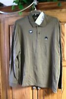 NEW MENS ST JOHNS BAY  BROWN SUEDED LONG SLEEVE POLO SHIRT SIZE LARGE