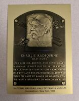 "CHARLIE ""Old Hoss"" RADBOURNE Hall of Fame METALLIC Plaque Card"