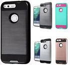 For Google Pixel & Pixel XL Brushed Metal HYBRID Rubber Case Phone Cover