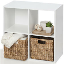 Storage Unit 4 Cube White Bookcase Display Shelf Showcase Living Room Bedroom