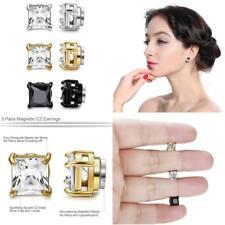 3 Pairs Stainless Steel Magnetic Earrings Non Piercing Men Women Ear Cz Stud 6mm