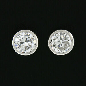 NEW Classic 14k White Gold 0.57ctw Bezel Round Brilliant Diamond Stud Earrings