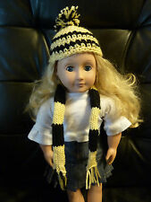 Hand Crocheted American Girl Doll Clothes Harry Potter Hufflepuff Scarf and Hat