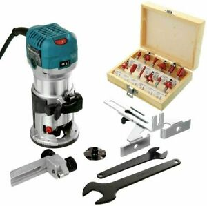 """Makita RT0700CX4 Router/Laminate Trimmer 240V+12 Pc 1/4"""" Shank Router Cutter Set"""