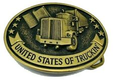 "Vintage 1970's Dodson ""United States of Truckin"" Solid Brass Belt Buckle USA"