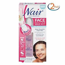 Nair Face Roll-On Hair Remover Wax Kit, 20 Strips each ( 2 Pack )