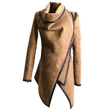 Women's Irregular Trench Coat Parka Cardigan Winter Warm Slim Fit Long Jacket US