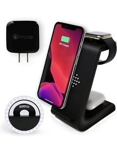 3 in 1 Wireless Charger Station Wireless Charging Dock with Selfie Ring Light