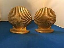 Pair Of Vintage Solid Brass Shell Book Ends Nautical Beach Decor