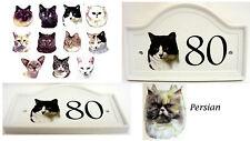 Persiano Gatto casa porta numero targa ceramica Persiano Gatto Porta firmare un numero