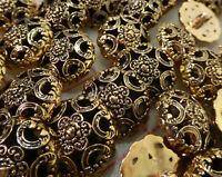 "50 dark gold pretty plastic shank buttons filigree flower design 20mm 3/4"""