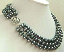 3 Rows Genuine Black Pearl 925 Sterling Silver Fortune Luck Clasp Necklace