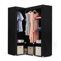 Armoire d'Angle Penderie dressing en textile non-tissé 129 x 87 x 169 cm LSF42H