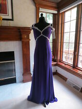 Panoply 14595 Purple Beaded Pageant Gala Gown Dress sz 0 NWT