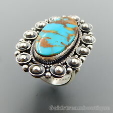 HANDCRAFTED STERLING SILVER MOUNTAIN OVAL TURQUOISE BEADED WIDE RING SIZE 11
