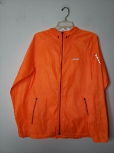 Asics Women's Windbreaker Full Zip Jacket Orange Drawstring Lightweight