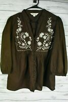 St Johns Bay Brown Top Embroidered Floral Cotton 3/4 Sleeve Woman's Size Large