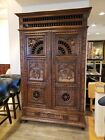 Belgium Carved Antique Cabinet with Interior Shelves