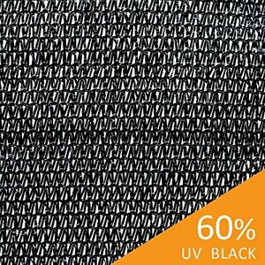 Ecover 60% Shade Cloth Sunblock Fabric, Garden Plants Cover, Black, 6.5 x 50ft