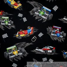 BonEful Fabric Cotton Quilt Black White B&W Red Blue Race Car Go Cart Boy SCRAP