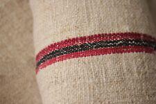 Vintage red black grainsack fabric grain sack material linen 5.5Yds striped hemp