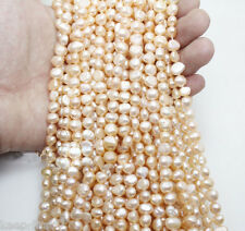 Genuine 6-7mm Natural Pink Freshwater Baroque Pearl Loose Beads 15'' AAA