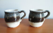 Beauce Pottery Avalanche 2 Mugs Beige Brown Blue Beauceware 1970s Canada