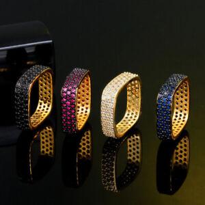 Unique Dark Blue Zircon Black Gold Square Round Ring for Female Engagement Party