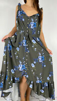 CITY CHIC Green Blue Floral Print Ruffle Button Maxi Dress Plus Size M AU 18