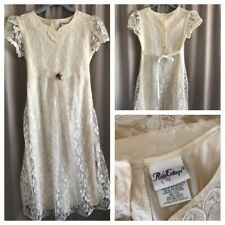 80's Girls Dress Victorian Easter Ivory Lace Over Satin Taffeta Puff Sleeve 14