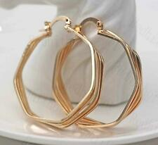 18K Gold Filled Earring Multilayer Twisted Circle Unique Ear Hoop Stud Ball DS