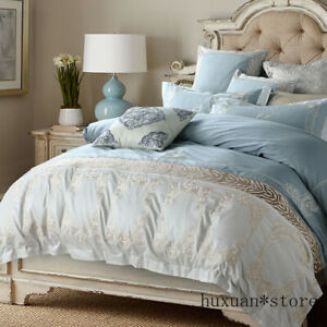 Blue Egyptian Cotton Bedding Set Queen King Bed Set Duvet Cover Bed Sheet Set